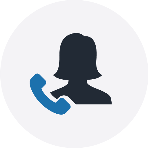 Women and phone icon in a grey circle to illustrate VOICE service