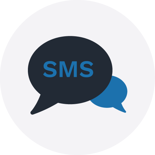 SMS bubble icon in a grey circle to illustrate SMS service