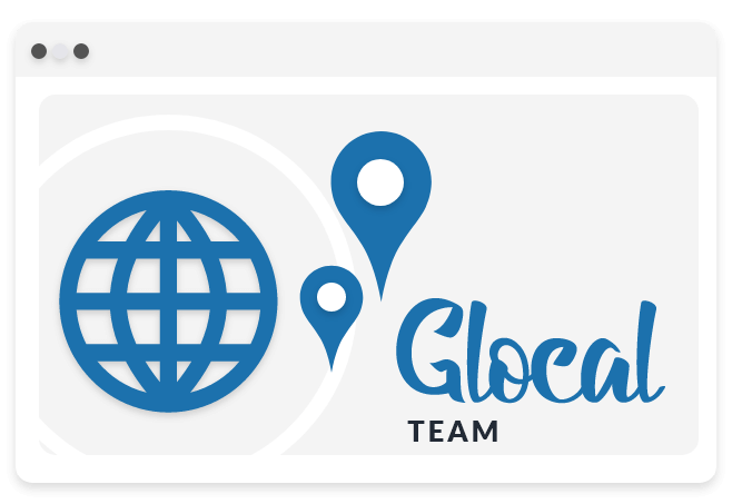 Illustration of a globe and map cursors in a browser to show global and local teams