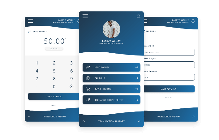 3 screens of wallet service
