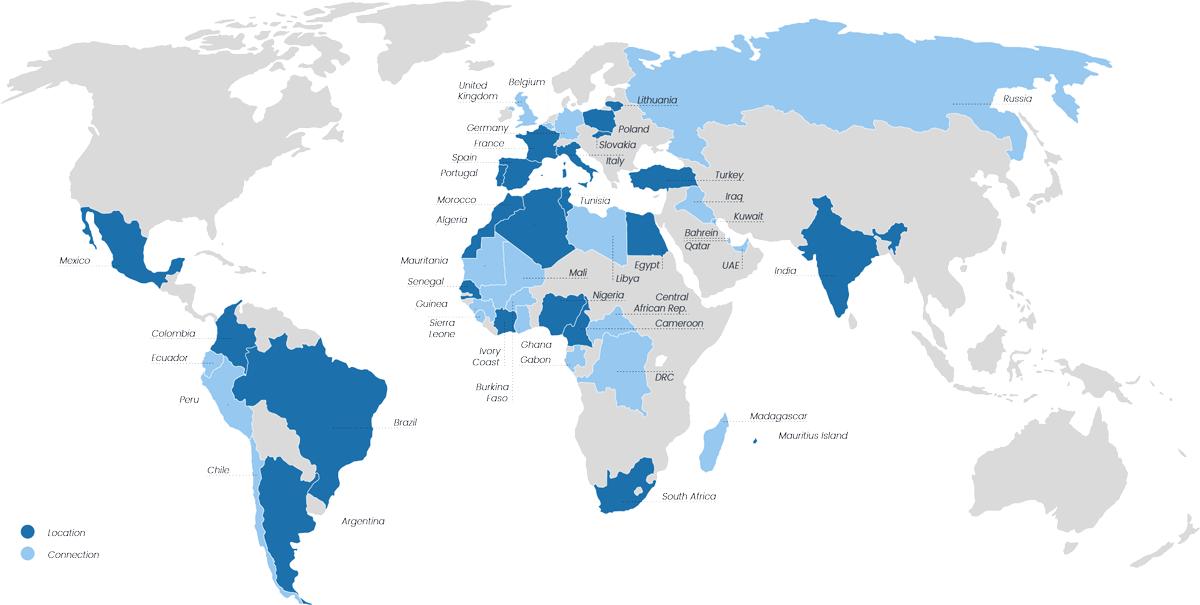 Mapa mundial Con las oficinas y conexiones de dv pass en color
